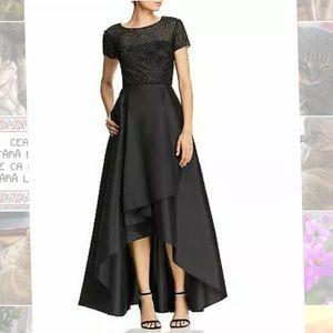 Adrianna Papell Black Formal Hi-Low Evening Dress